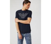 T-shirt aus Jersey mit Aufgesticktem Kontrastlogo