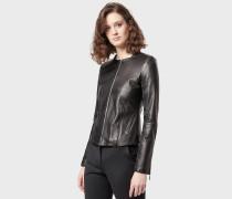 Jacke aus Handschuh-lammnappaleder mit Kanteneinfassungen in Satin