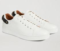 Sneakers aus Gehämmertem Leder mit Zierschnalle An Der Ferse