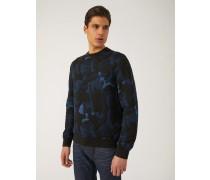Sweatshirt aus Baumwollgemisch mit Camouflage-jacquardmotiv