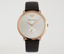 Uhr mit Rundem, Roséfarbenem Zifferblatt und Armband aus Glattleder