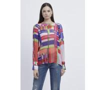 Bluse aus Seidenchiffon und Multicolor-karomuster