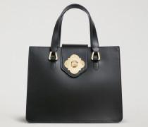 Handtasche Aus Glattem Leder Mit Tragriemen