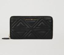 Brieftasche mit Umlaufendem Reißverschluss aus Gestepptem Kunstleder