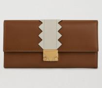 Brieftasche aus Leder mit Zickzack-detail