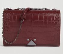 Crossbody Bag aus Echtem Leder mit Kroko-prägung und Logo-detail