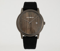 Uhr mit Zifferblatt in Holz-optik und Armband aus Tuch