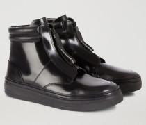 Stiefeletten-sneakers aus Geschliffenem Nappaleder mit Reißverschluss