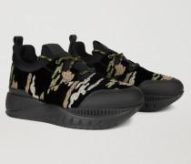 Sneakers aus Scuba-stoff und Camouflage Samt