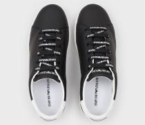 Sneaker Aus Leder Mit Logo-schnürsenkeln