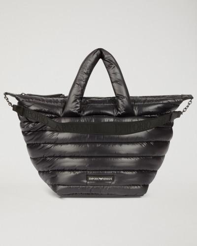 Innen Gepolsterte und Außen mit Steppnähten Versehene Tasche mit Tragriemen mit Emporio Armani-logo