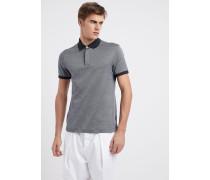 Poloshirt aus Baumwolle in Geometrischem Mikro-muster mit Kontrastkragen