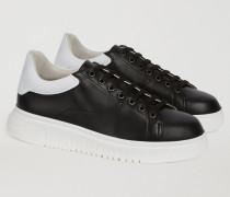 Sneakers Aus Zweifarbigem Leder