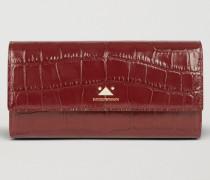 Portemonnaie im Querformat aus Leder mit Kroko-prägung