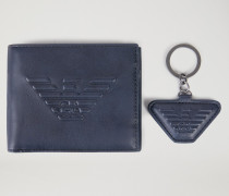 Geschenkset Portemonnaie und Schlüsselanhänger mit Logo