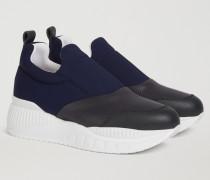 Sneaker Aus Leder Und Neopren