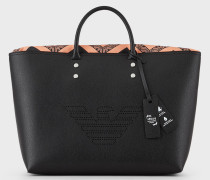 Shopper-tasche aus Lederfaserstoff mit Großer Logoperforation