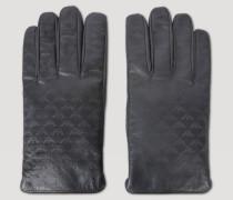 Lederhandschuhe mit Allover-logoprint und Wollfutter