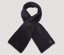 Schal mit Rippenmuster aus Reiner Wolle mit Emporio Armani-logo