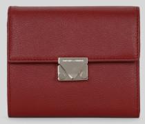 Portemonnaie aus Gehämmertem Leder mit Dreiecksverschluss