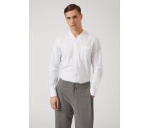 Hemd Aus Baumwollstretch Mit V-ausschnitt Und Brusttasche
