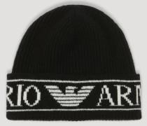 Mütze aus Rippstrick mit Emporio Armani Logo