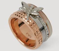 Ring aus Zweifarbigem Stahl mit Kleiner Libelle