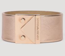 Armband Aus Metallic-leder Und Edelstahl