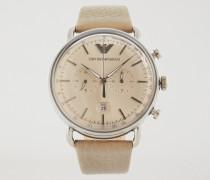 Chronograph Aus Rostfreiem Edelstahl Und Leder 11107