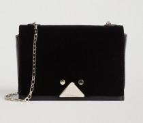 Mini-tasche aus Samt und Leder mit Dreieckigem Verschluss