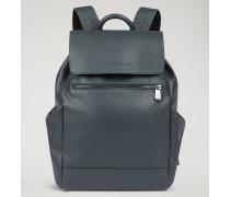 Rucksack Aus Genarbtem Leder Mit Seitentaschen