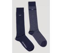 Zweiteiliges Socken-set Aus Leichtem Strick/baumwollstretch