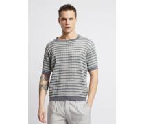 Mehrfarbiger Pullover aus Perforiertem Stoff mit Kurzen Ärmeln
