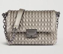 Crossbody Bag aus Gestepptem Kunstnappaleder mit Tropfen-motiv