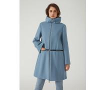 Mantel aus Doublierter Wolle mit Einsatz aus Samt und Kleinen Nieten