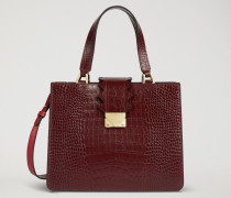 Handtasche aus Leder mit Kroko-prägung und Zickzack-detail