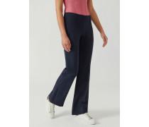 Ausgestellte Hose mit Weiten Schlaufen aus Einfarbigem Stoff