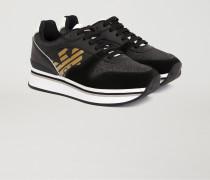 Sneakers Mit Glitzerndem Obermaterial Und Logo Mit Laminiertem Effekt