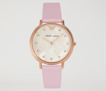 Uhr aus Edelstahl mit Zifferblatt aus Perlmutt und Kristallen