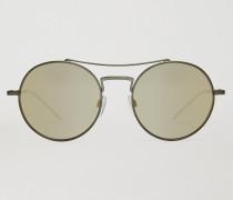 Runde Sonnenbrille mit Gebogenem New Metals Steg