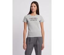 T-shirt aus Baumwolljersey mit Stretch mit Emporio Armani-logo
