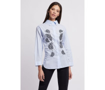 Popeline-bluse mit Maxi-kragen und Laubstickerei