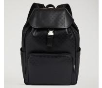 Rucksack Mit Seitentaschen Aus Leder Mit All-over-logodruck