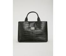 Handtasche aus Leder mit Kroko-prägung und Tragriemen
