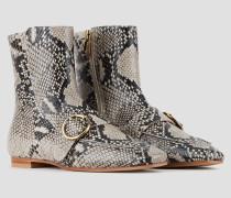 Stiefeletten aus Leder in Python-prägung mit Riemen und Schließe