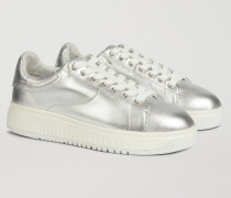 Sneakers aus Nappaleder mit Metallic-effekt