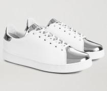 Sneakers aus Echtem Leder mit Laminiertem, Verspiegeltem Einsatz