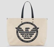 Shopper-tasche aus Canvas mit Maxi-logo und Innen-täschchen