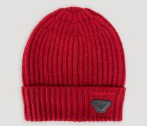 Mütze aus Reiner Wolle mit Umschlag und Emporio Armani-logo