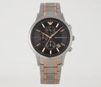 Chronograph aus Edelstahl mit Dreigliedrigem Armband mit Roséfarbenen Streifen